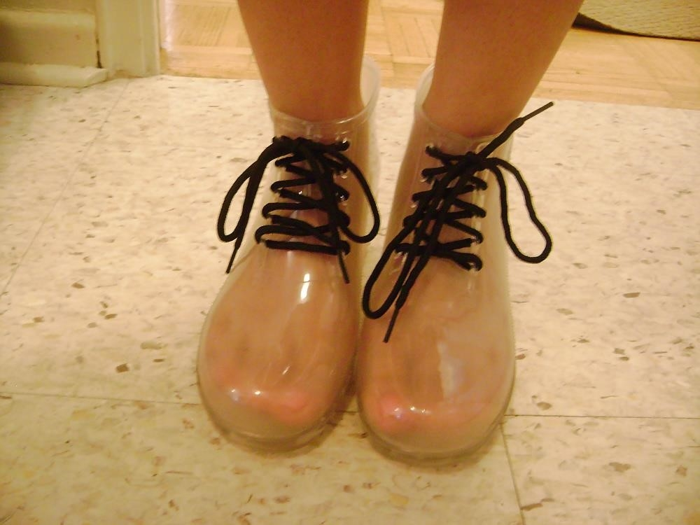 Womens white rain boots-8454