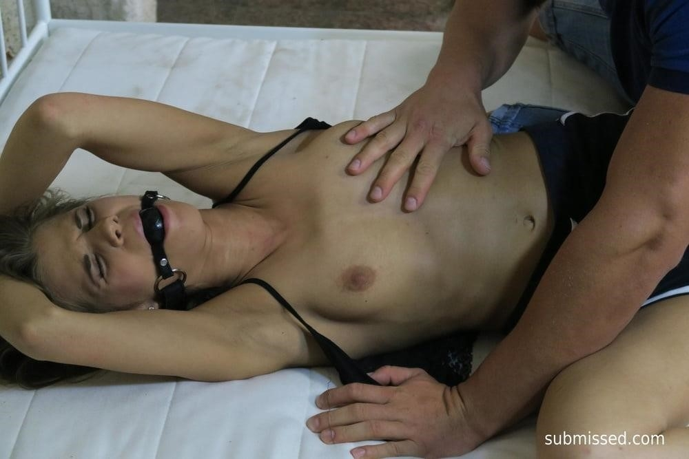 Girl tied up and feet tickled-2219