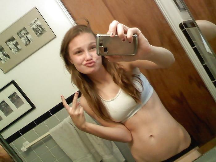 Blonde teen nude mirror selfie-5845