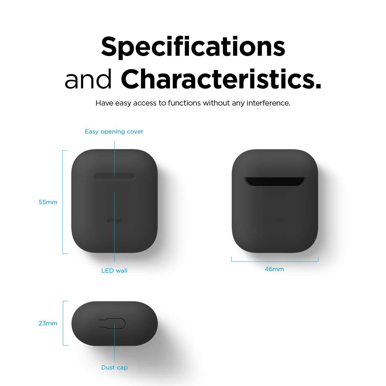 LED Vorne Sichtbar elago Skinny Case D/ünne H/ülle Schutzh/ülle Kompatibel mit Apple AirPods 1 /& 2 mit Karabiner, Jean Indigo Kein Scharniere Unterst/ützt Kabelloses Laden Hochwertiges Silikon