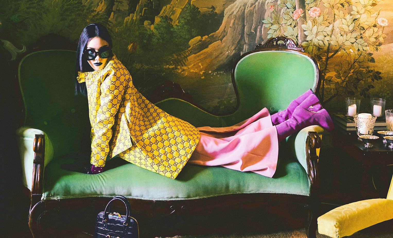 восточная красавица в рекламе модной коллекции Gucci Pre-Fall 2020