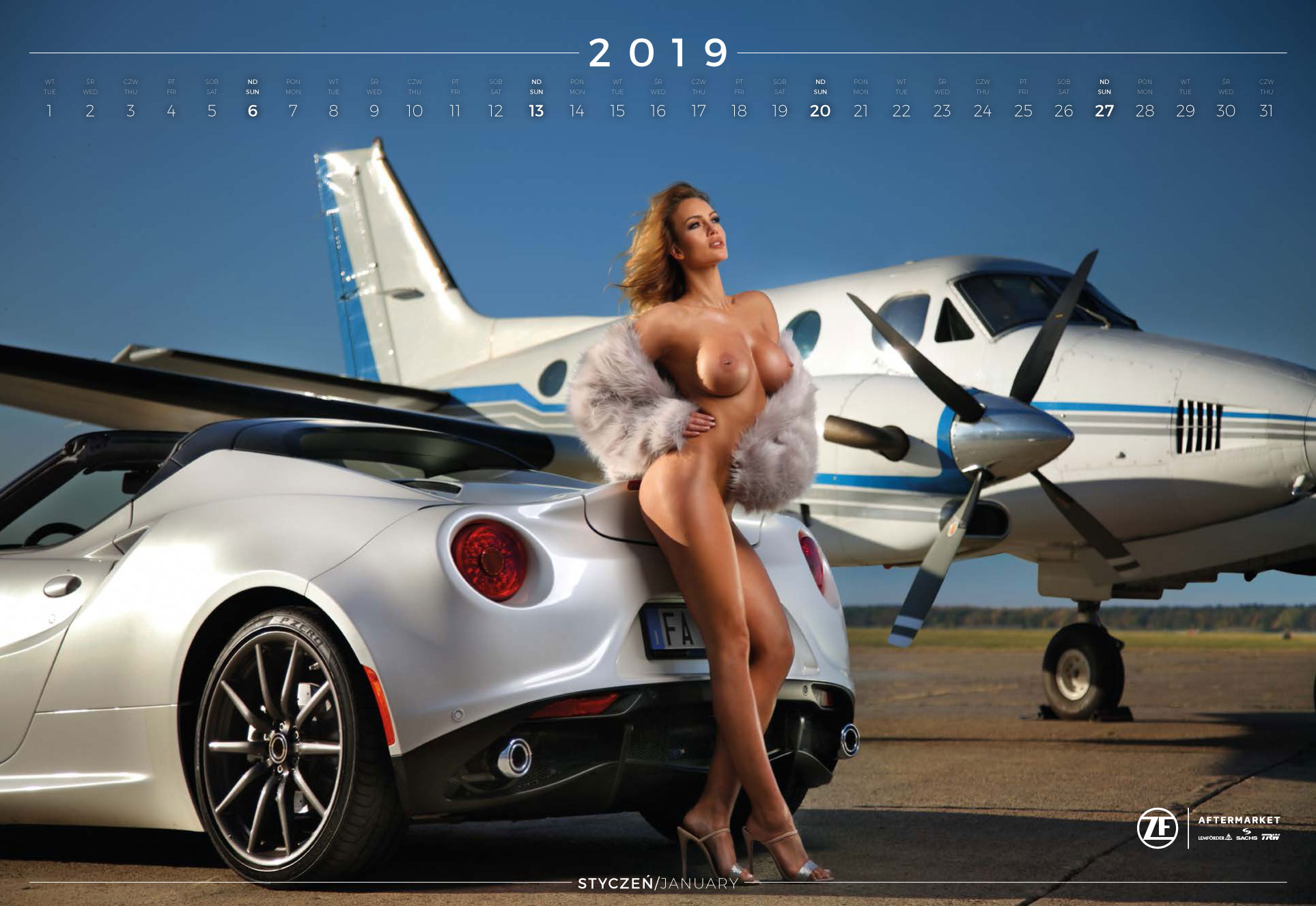 январь - эротический календарь 2019 Inter Cars SA / польский дистрибьютор автомобилей, сопутствующих товаров и запчастей