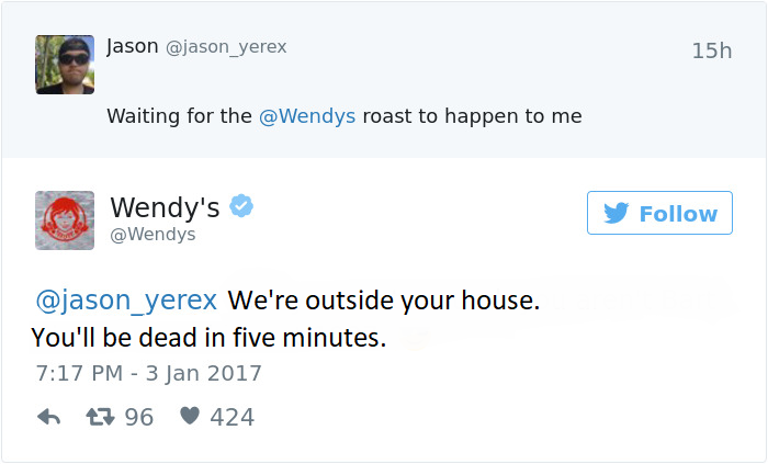 40+ Hilarious Timeless Twitter Roasts by Wendy's Official Twitter