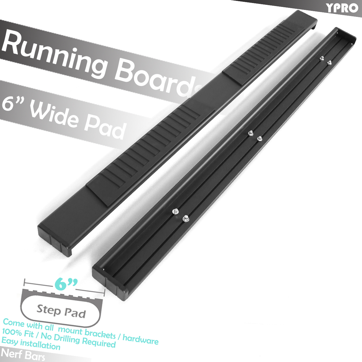 """Fit 2009-2014 Ford F-150 Super Cab 5/"""" Side Step Running Boards Nerf Bar S//S Oval"""