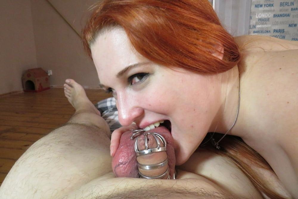 Femdom chastity cunnilingus-4018