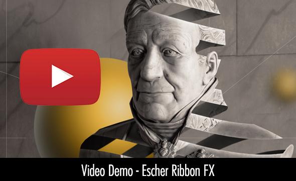 Escher Ribbon FX Photoshop Peel Stripe effect