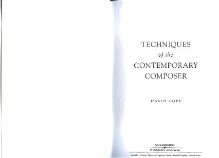 Techniques of the Contemporary Composer