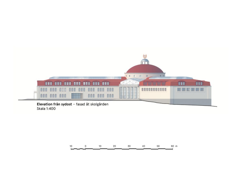 Esplanadskolan – elevation från SO – skala 1:400 (A3)