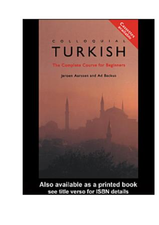 Colloquial Turkish The Complete Course For Beginners