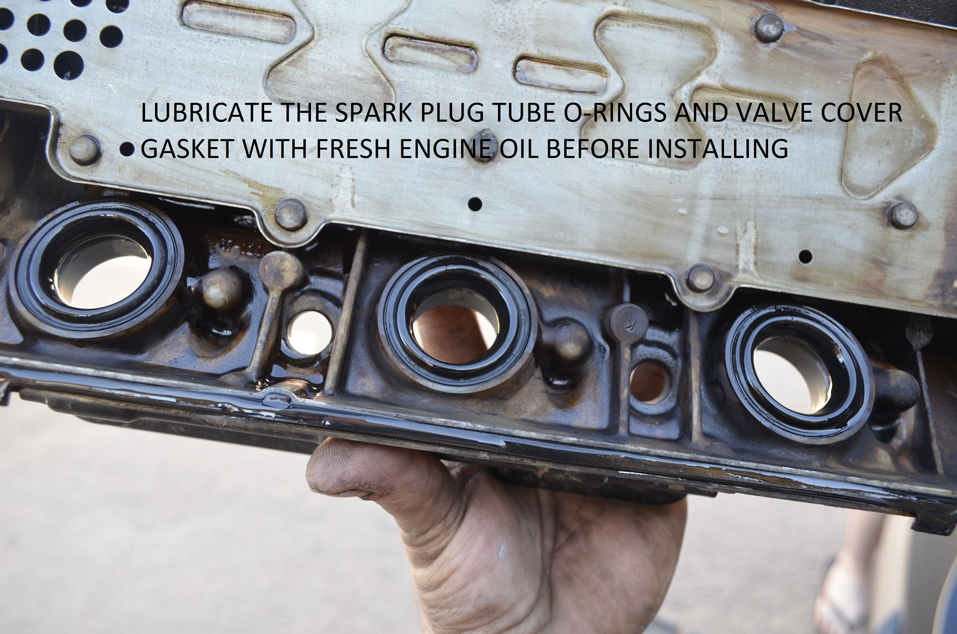Proceed to lubricate the Spark Plug tube O-Rings and Valve Cover Gasket  with fresh engine oil, Then re-install the valve covers! GOOD LUCK!