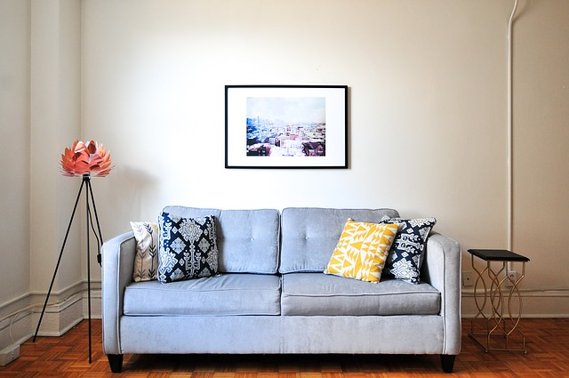 Grey sofa in minimalist living room