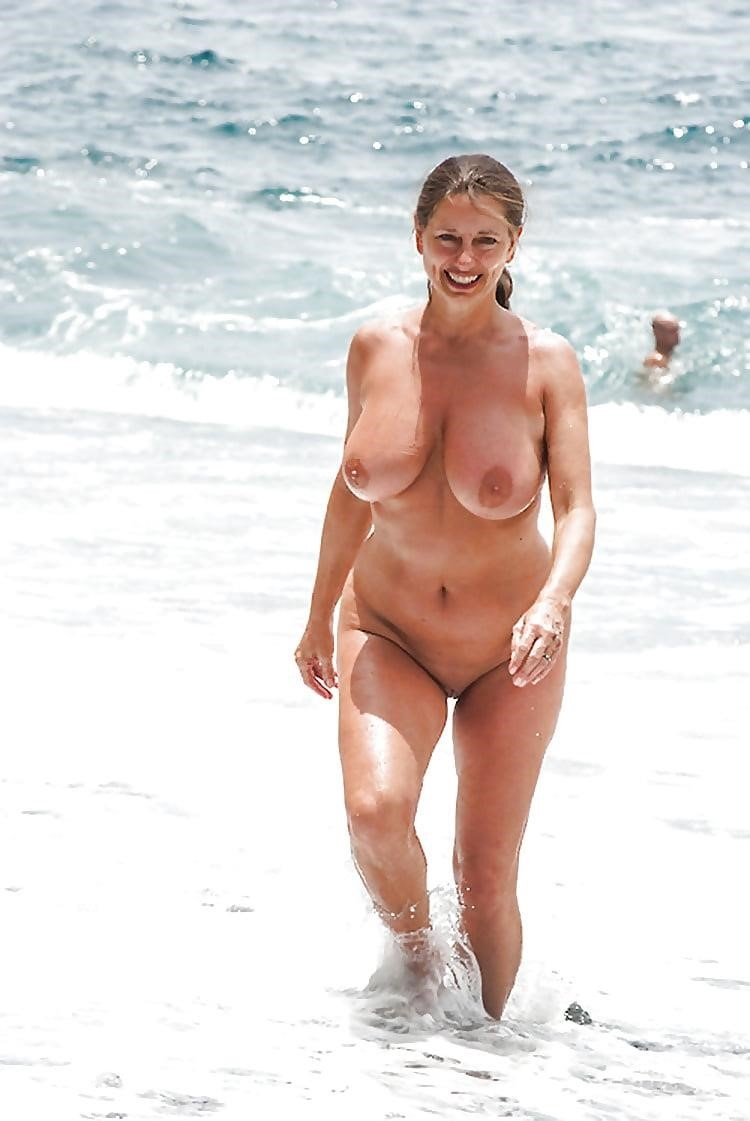Big boobs nude on beach-5494