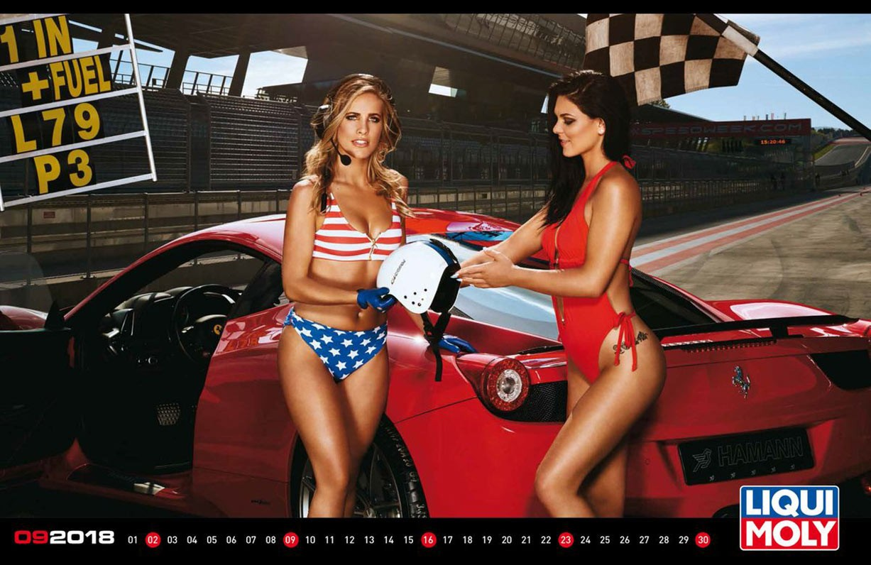 Сексуальные девушки, автомобили и мотоциклы в календаре Liqui Moly на 2018 год (международная версия)
