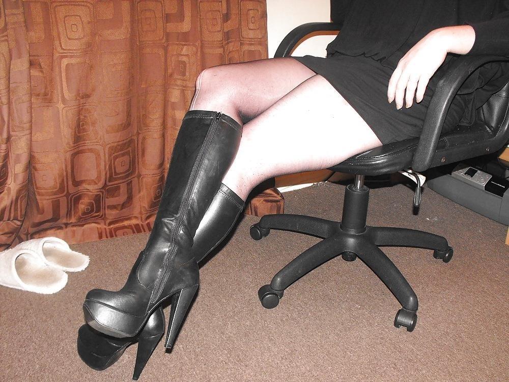 Black knee high combat boots-6279