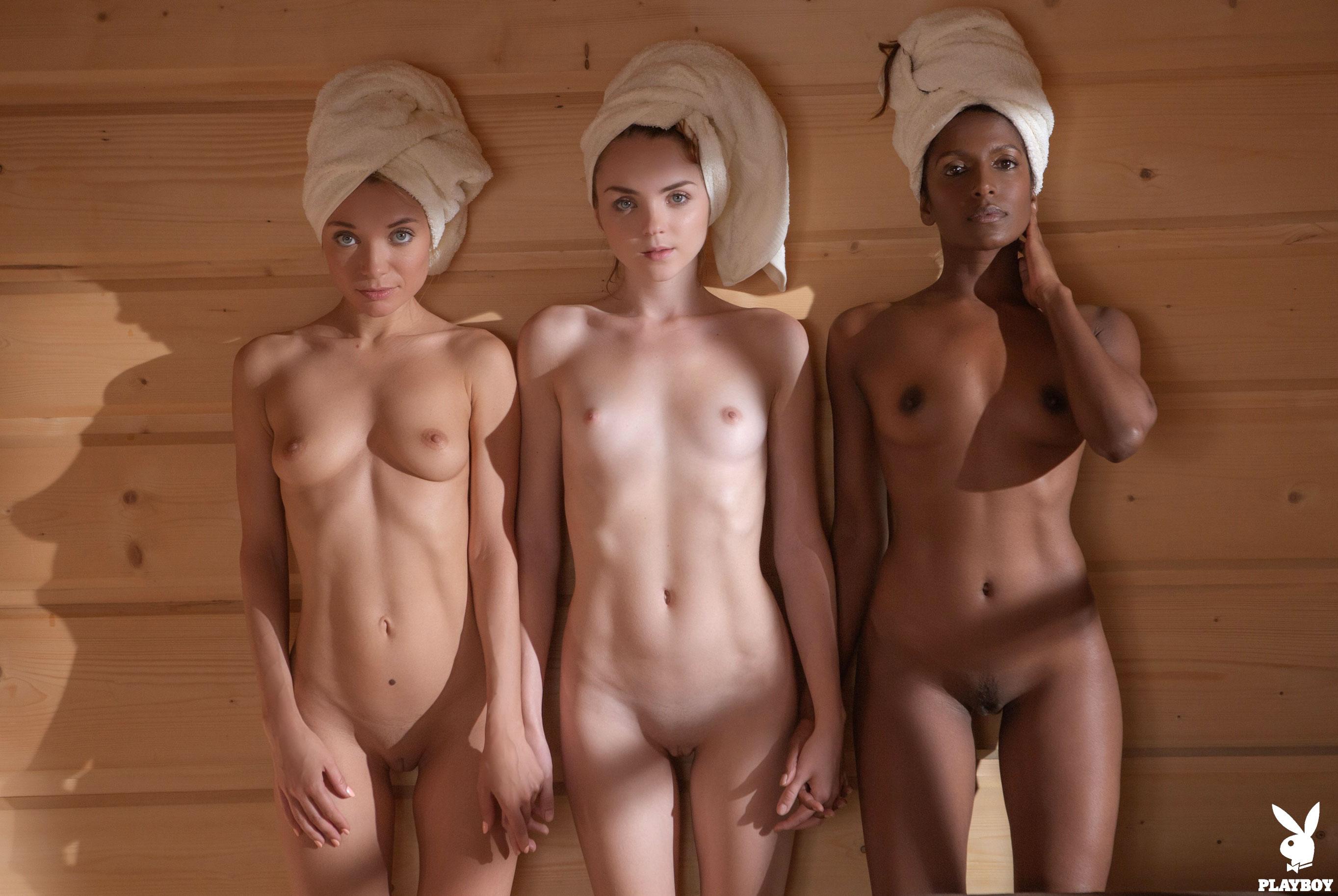 Три девушки в сауне / Zhenya Belaya, Kate Great, Nirmala Fernandes nude by David Merenyi