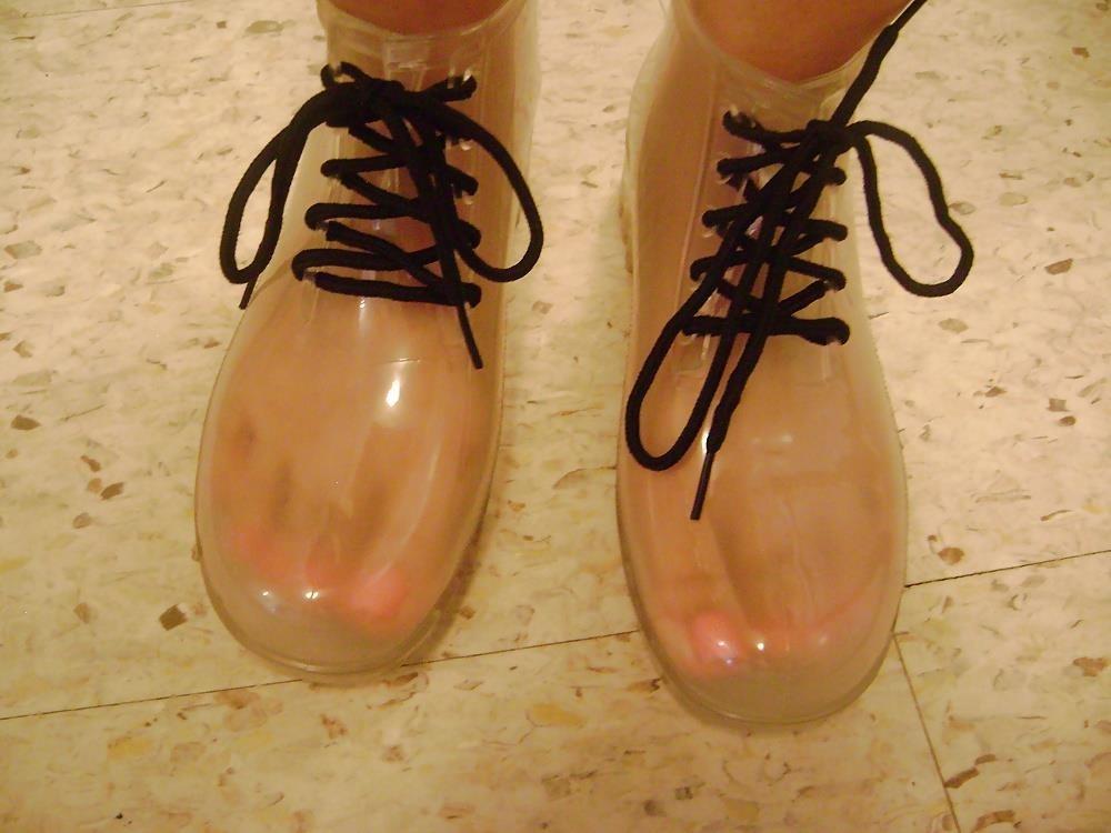 Womens white rain boots-7494