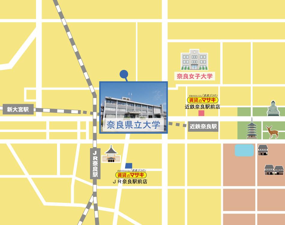 奈良県立大学周辺の賃貸検索地図