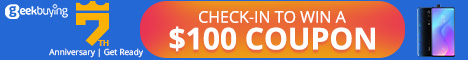 GeekBuying.com,Check-in to Win a $100 coupon,