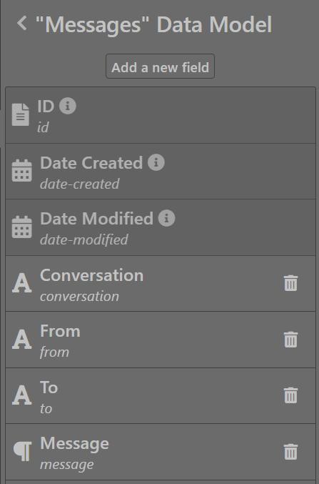 Messages data model - Sktch.io No-Code Builder