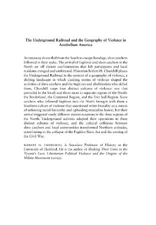The Underground Railroad and the Geography of Violence in An