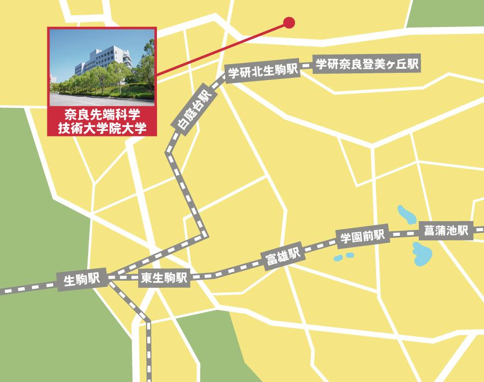 奈良先端科学技術大学院大学周辺の検索地図