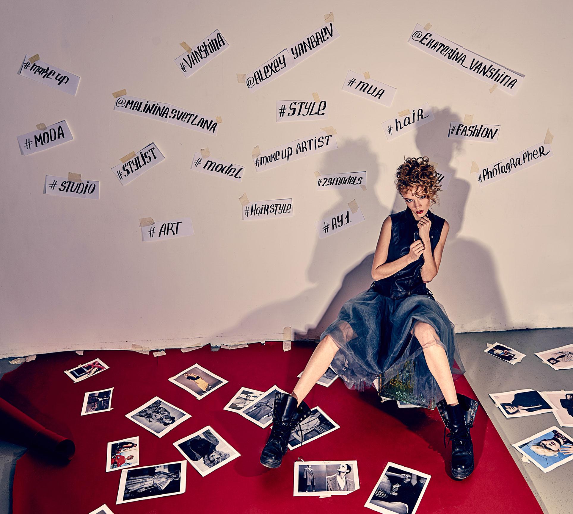 Екатерина Ваньшина и хэштеги в модной фотосессии Алексея Янбаева / фото 03