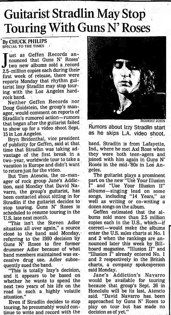 1991.09.24 - Los Angeles Times - Guitarist Stradlin May Stop Touring With Guns N' Roses IhvLank4_o