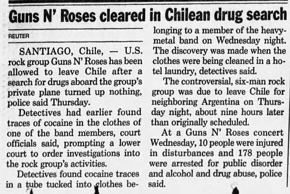 1992.12.04 - The San Francisco Examiner/Reuter - Guns N' Roses cleared in Chilean drug search RbWWZssu_o