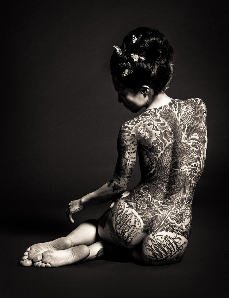 Couple geisha nude tattoo