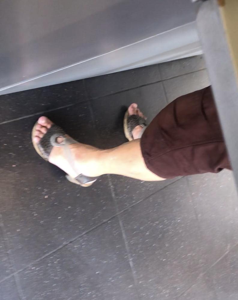 Granny feet in nylons-9257