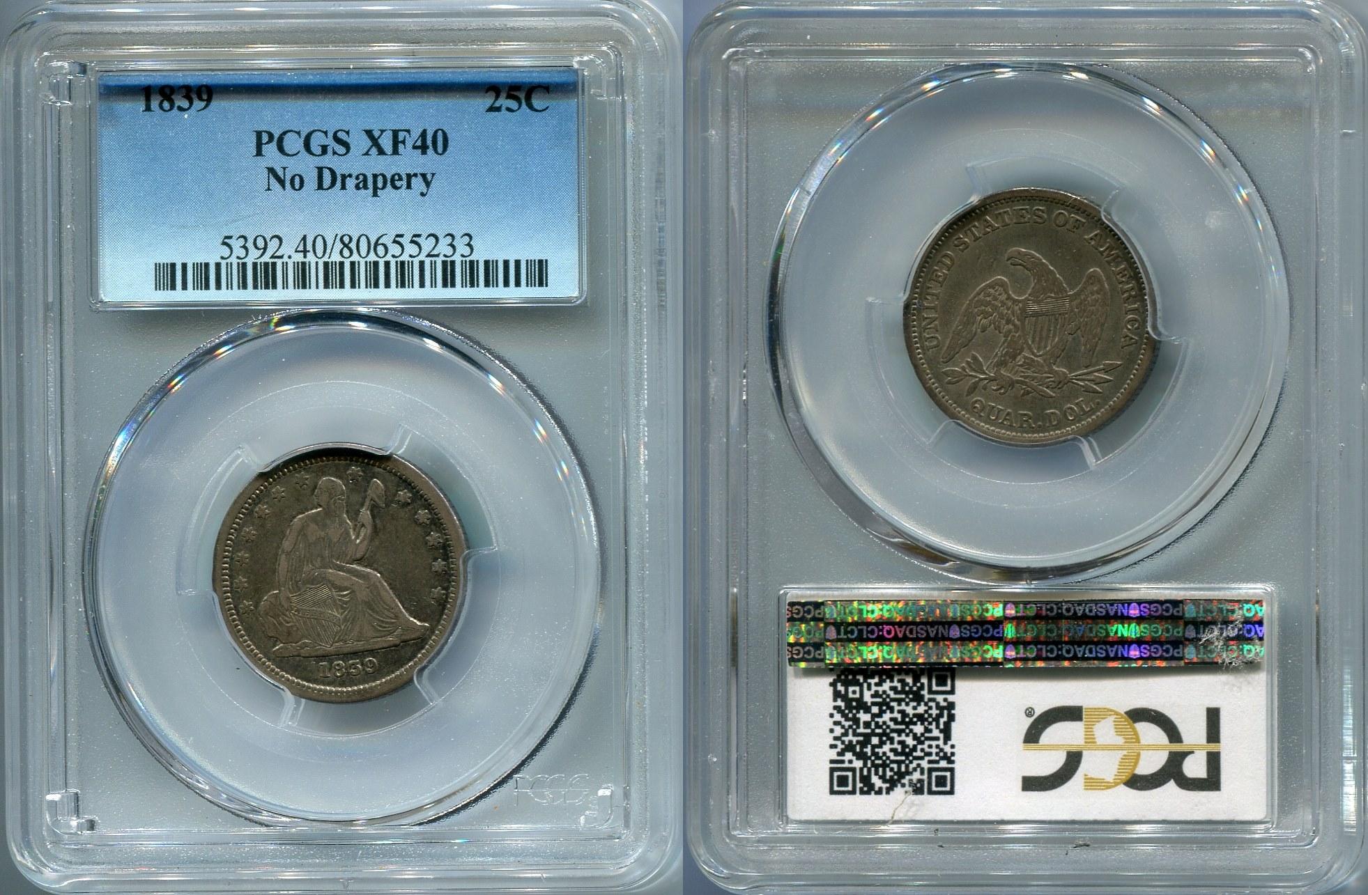 GFRC Open Set Registry - Jonjrl Coins 1839 Seated No Drapery 25C