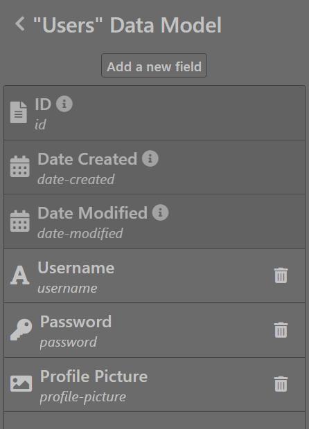 Users data model - Sktch.io No-Code Builder