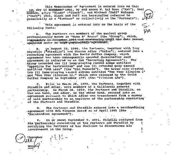 1992.10.DD - Guns N' Roses Partnership contract (Memorandum of Agreement) ZFpg4nAM_o
