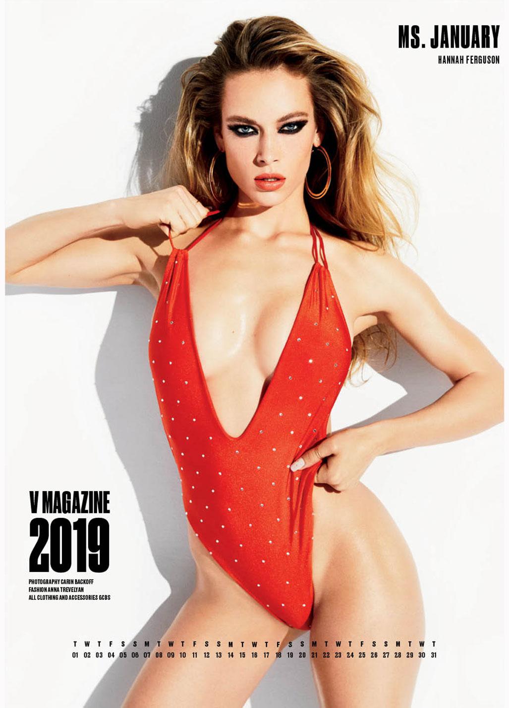 календарь с супермоделями на 2019 год - журнал V Magazine / мисс январь Hannah Ferguson