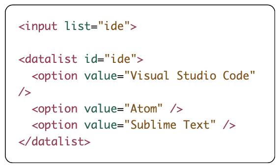 datalist element coding
