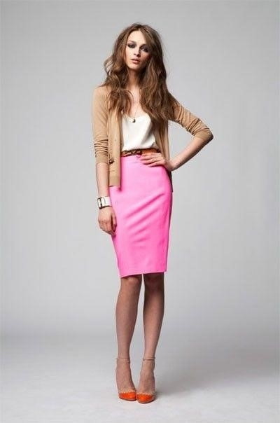 Neon pink leather skirt-5462