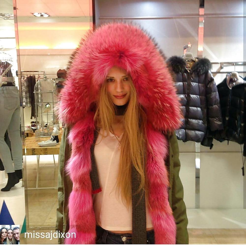 Jean jacket with brown fur-4572
