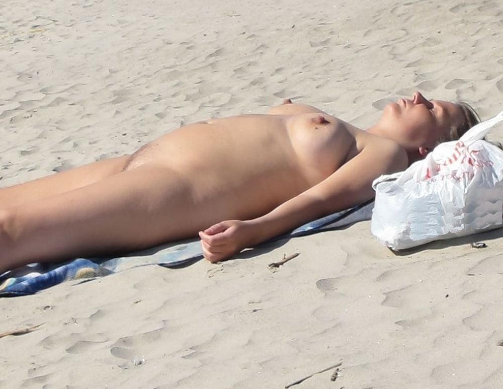 Nude blonde at beach-3045