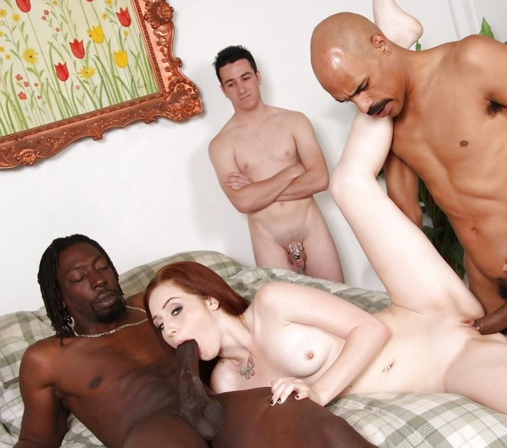 Husband watches wife interracial-4944
