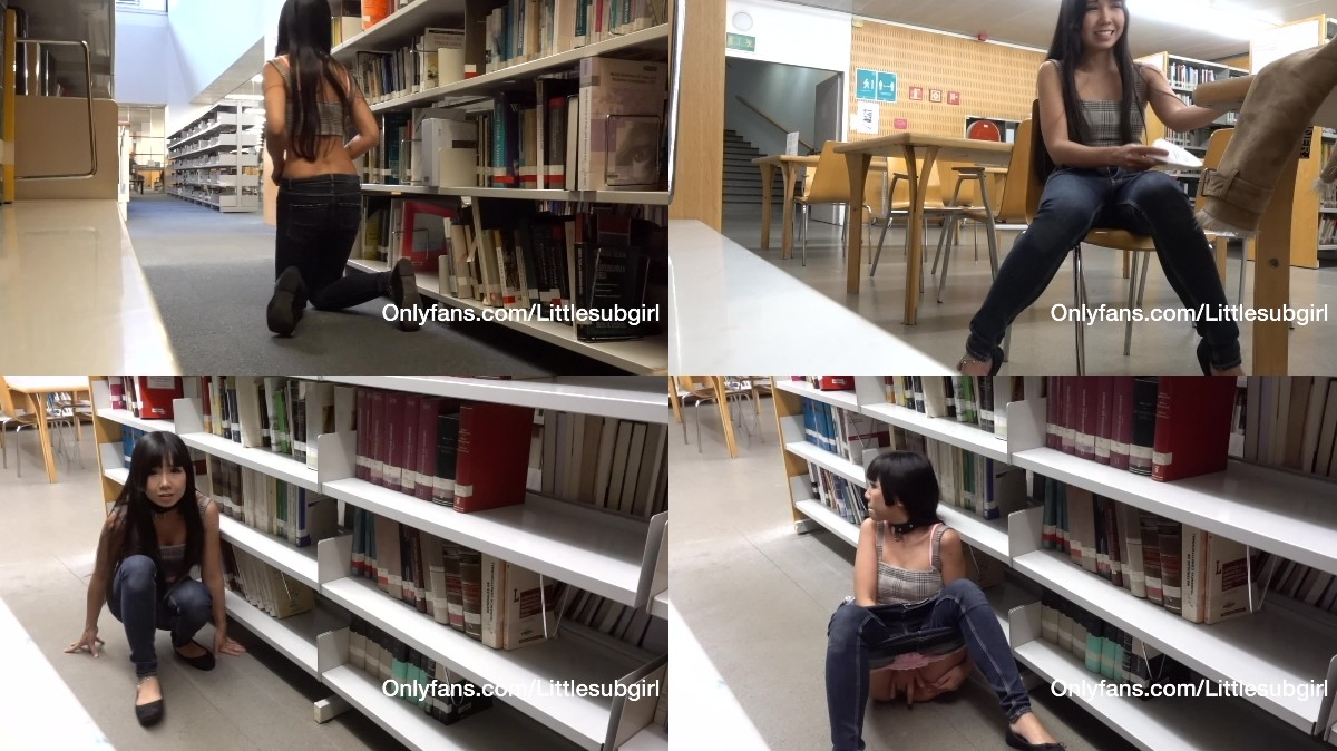 Littlesubgirl – Busy Public Library Squirts All Over Her Face & Swallow Squirt!