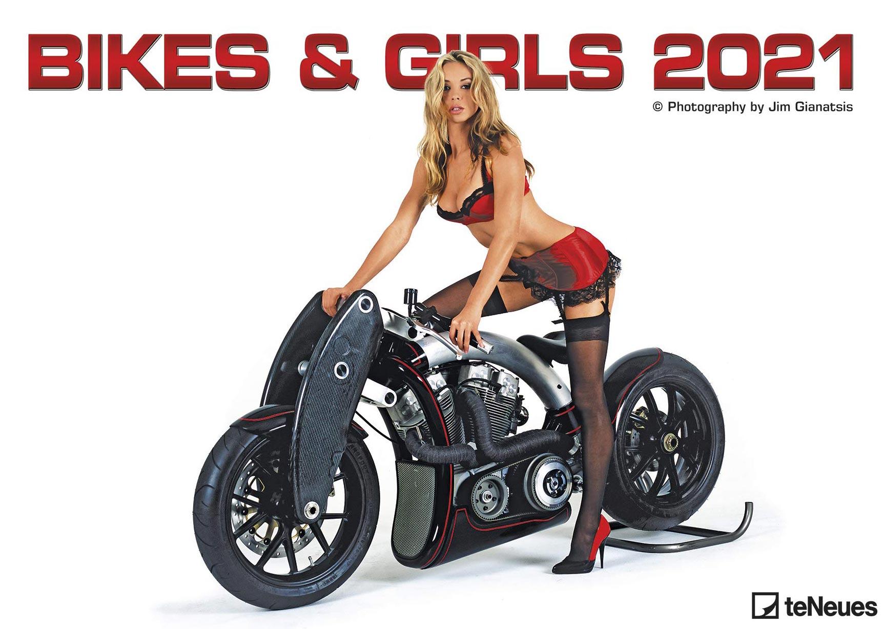 Девушки и мотоциклы в календаре на 2021 год / обложка