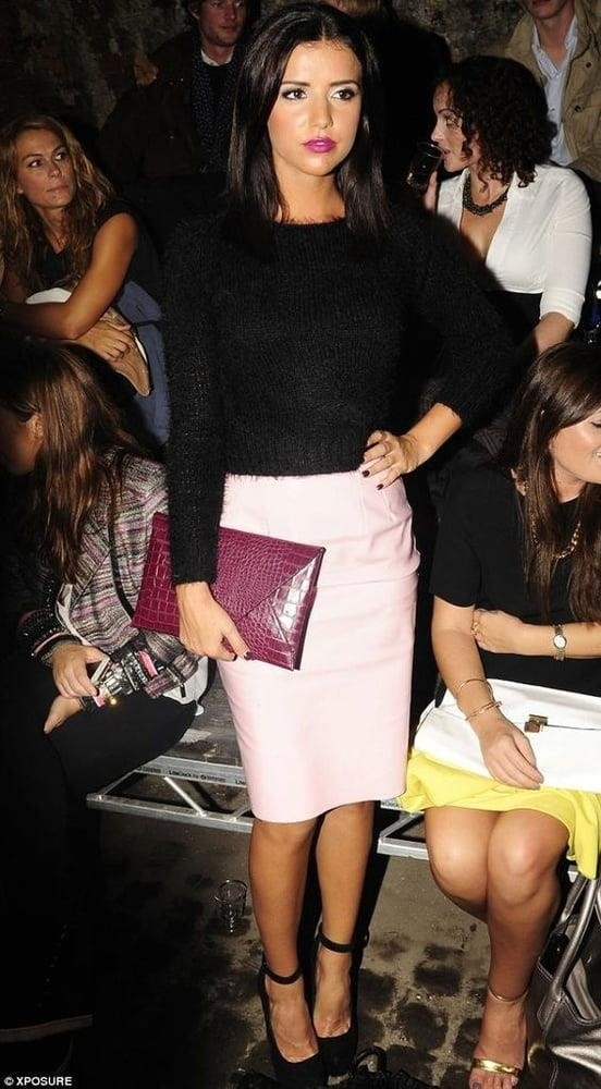Neon pink leather skirt-7035