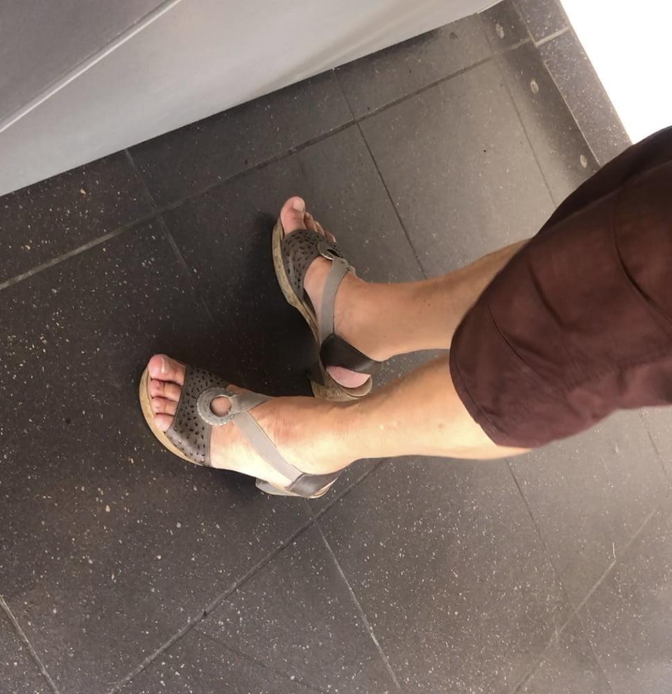 Granny feet in nylons-5205
