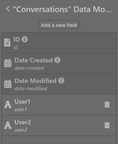Conversations data model - Sktch.io No-Code Builder