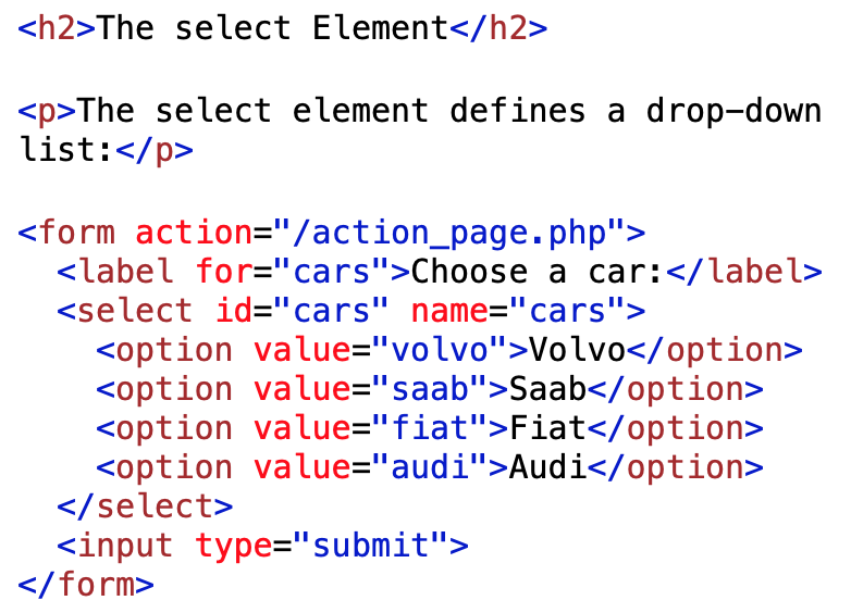 select element coding