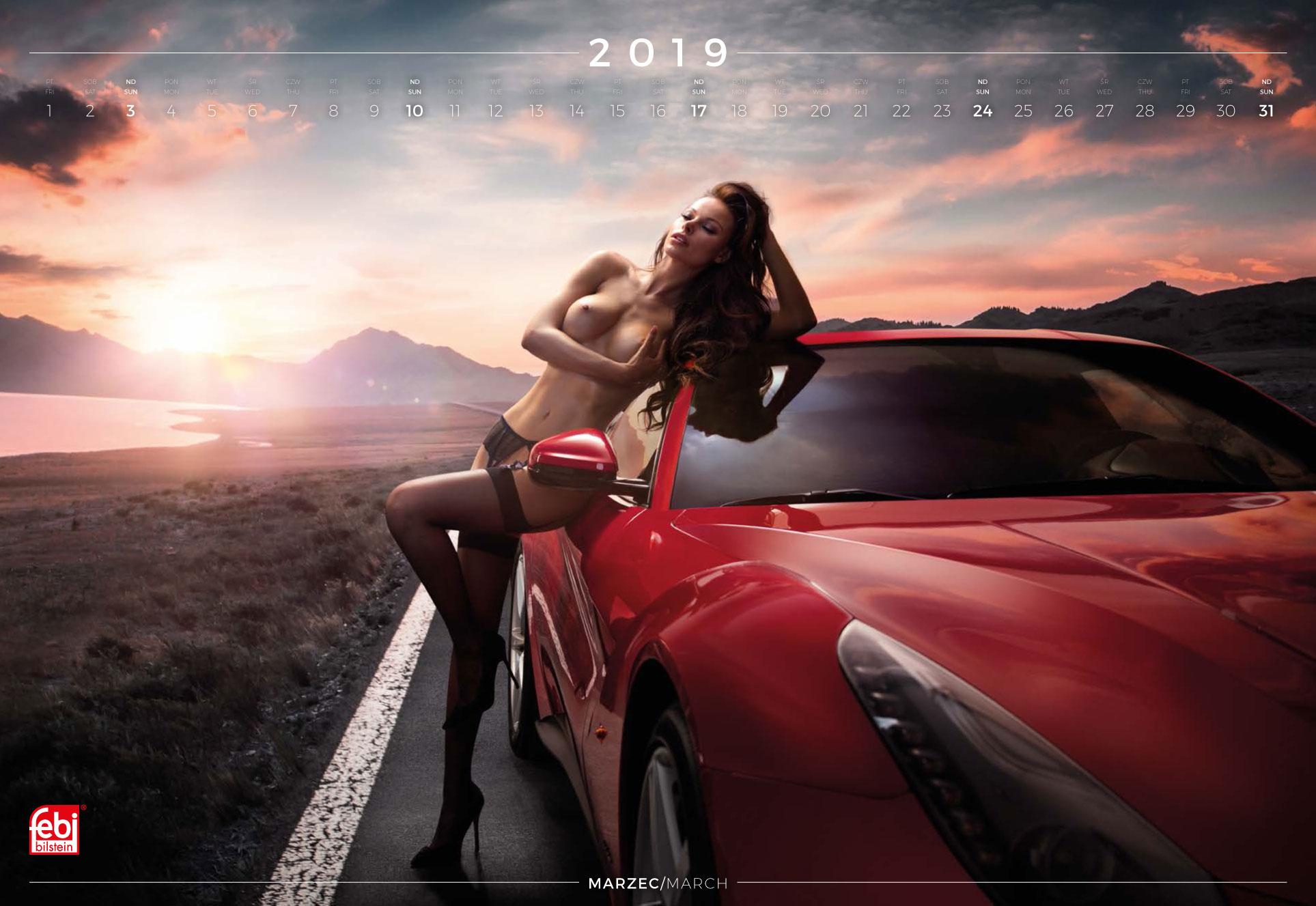 март - эротический календарь 2019 Inter Cars SA / польский дистрибьютор автомобилей, сопутствующих товаров и запчастей