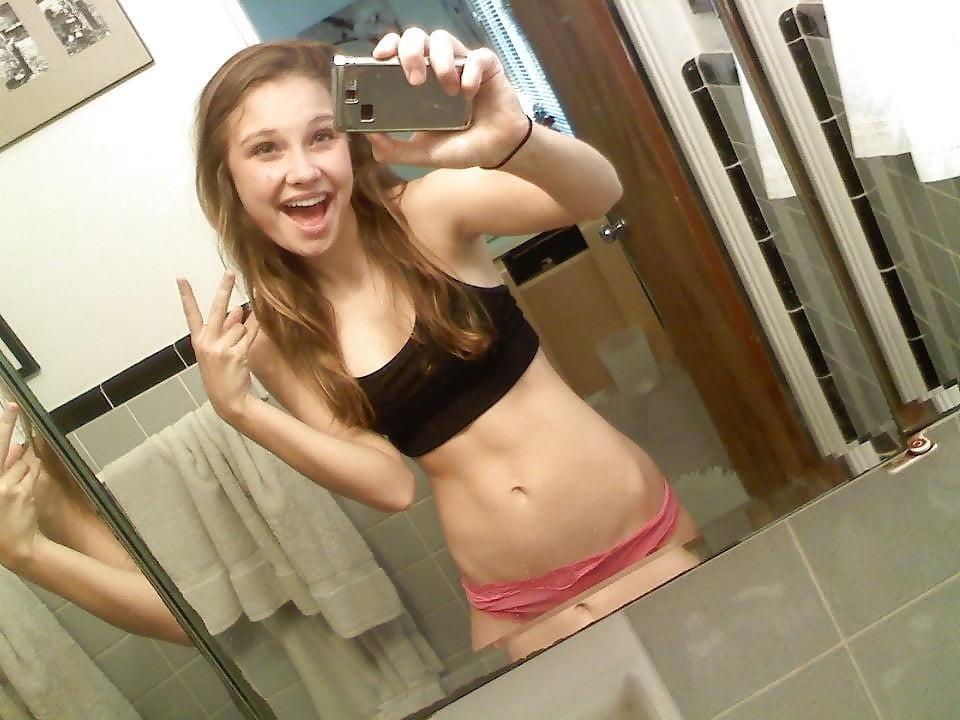 Blonde teen nude mirror selfie-4338