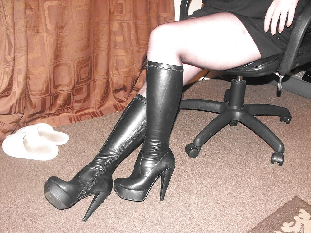 Black knee high combat boots-8038