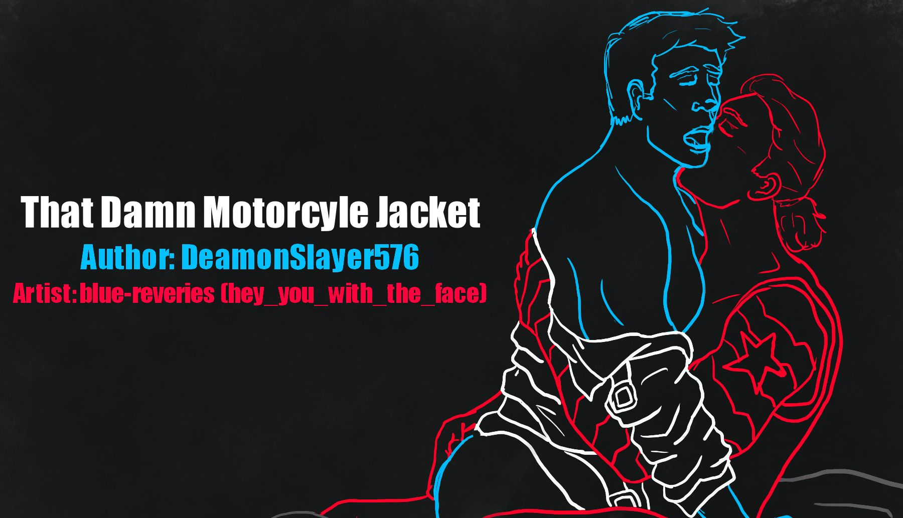 drawn in red, white and blue lines on a black background: Steve riding Bucky, a black jacket down around his elbows while bucky kisses under his jaw