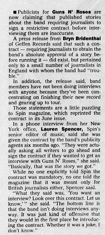 1991.06.01 - Geffen press release [incomplete] - Guns N' Roses don't require the media contracts rumored LX7DtChC_o